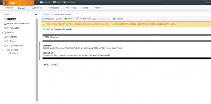 Content DetectiveというSpamと判断される文言が含まれているかどうかをチェックしてみてます。