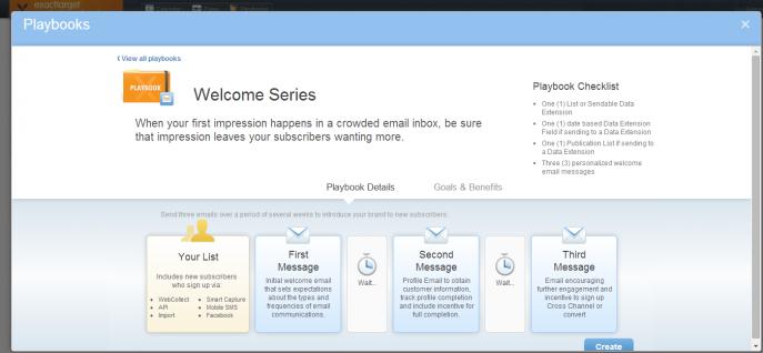 Welcome Seriesの設定のTOP画面。配信対象者の設定→各コンテンツ作成→スケジュールの順に設定。