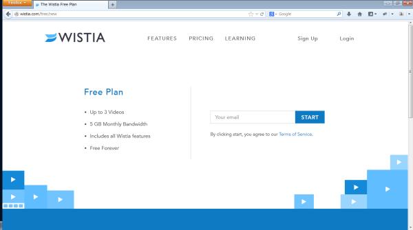 Wistia Free Planの申し込みページ