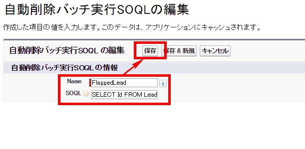 自動削除バッチSOQL保存