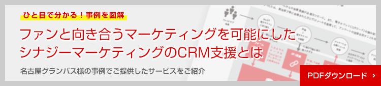 ひと目でわかる!事例を図解。ファンと向き合うマーケティングを可能にしたシナジーマーケティングのCRM支援とは。名古屋グランパス様の事例でご提供したサービスを紹介